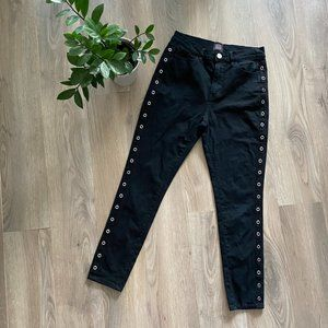 BDG Black High-Rise Skinny Cropped Open-Ring Hem Decal Jeans